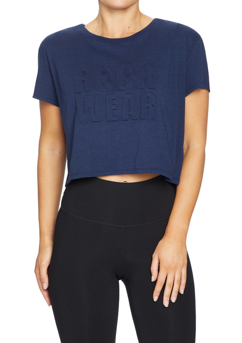 French Navy Cropped Embossed Tee