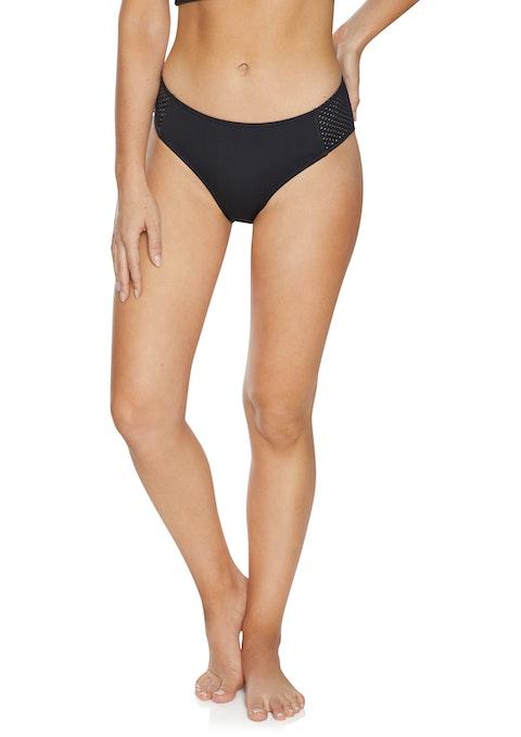 Black Perforated Side Bikini Bottoms