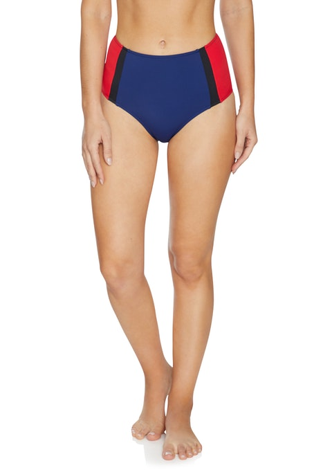 Marine High Waisted Colour Blocked Bikini Bottoms