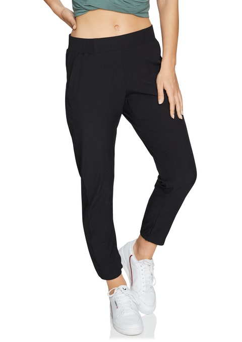 Black Casual Rib Panel Pant