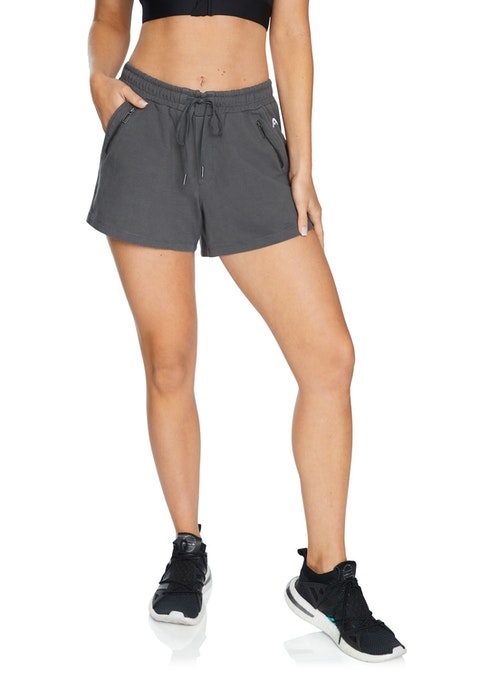 Gunmetal Woven Zip Pocket Short