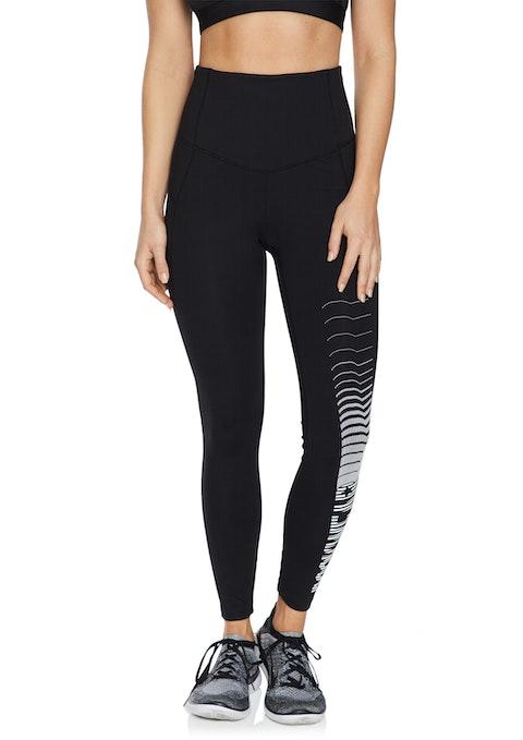 Black Zip Rockwear Logo Full Length Tights