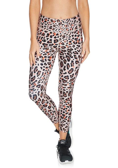 Tangerine Leopard Sprint Pocket Ankle Grazer Tights