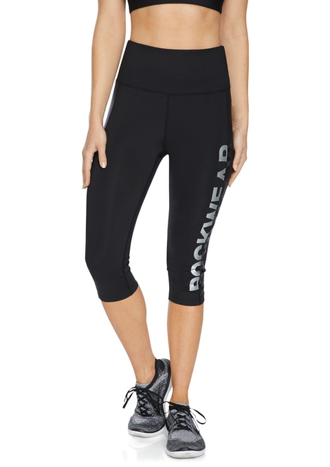 Black Split Rockwear Logo 3/4 Tights