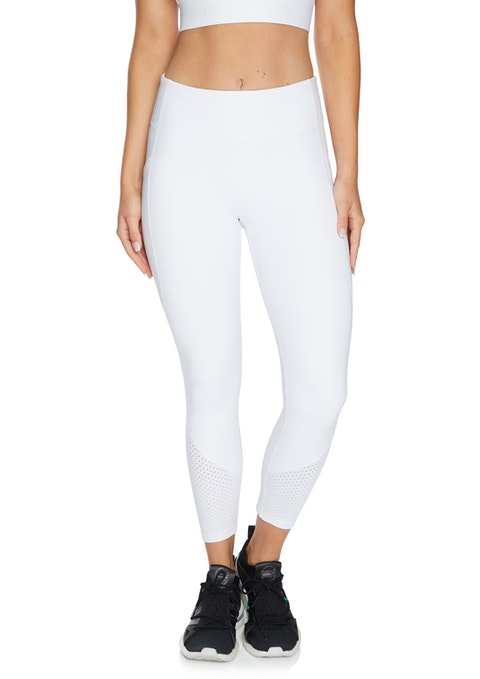 White White Perforated Ankle Grazer Tights
