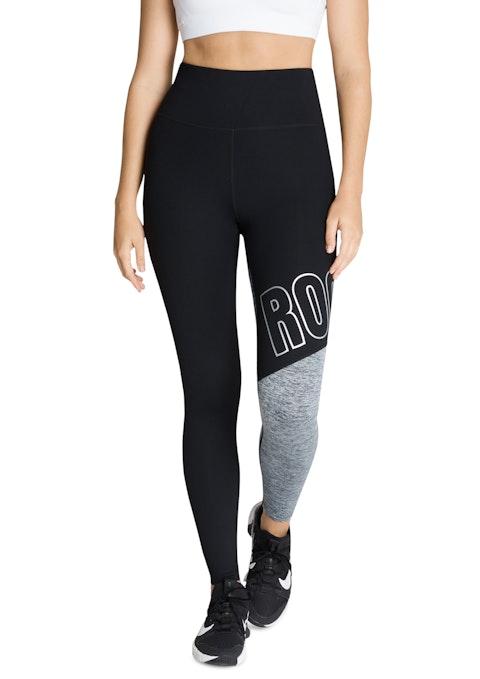 Black Blocked Rockwear Logo Full Length Tights