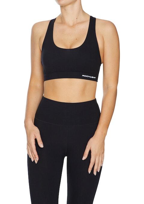 Black Luxesoft™ Medium Impact Cross Back Sports Bra