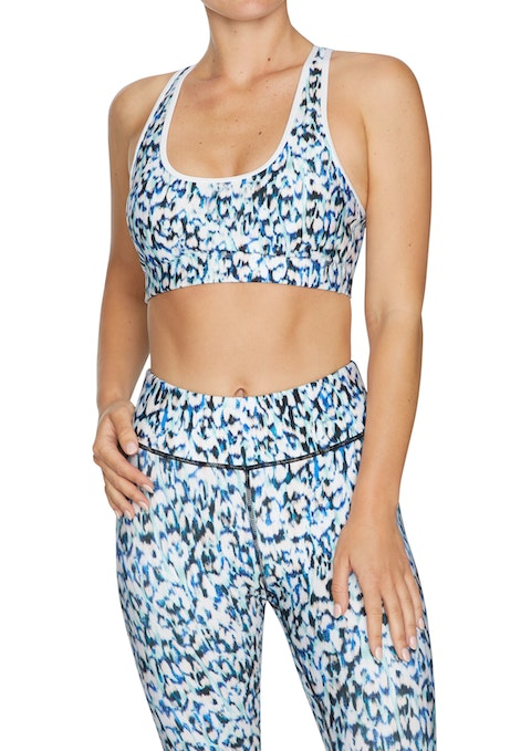 Iris Print Medium Impact Strappy Sports Bra