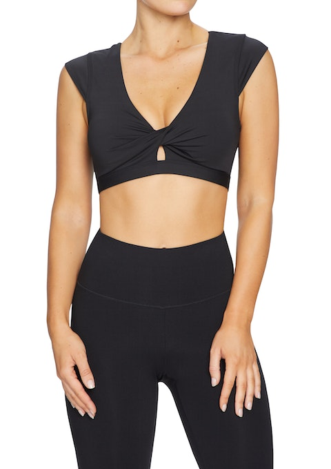 Black Twist Front Low Impact Crop Sports Bra