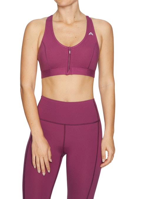 Mulberry Luxesoft™ Medium Impact Zip Front Sports Bra