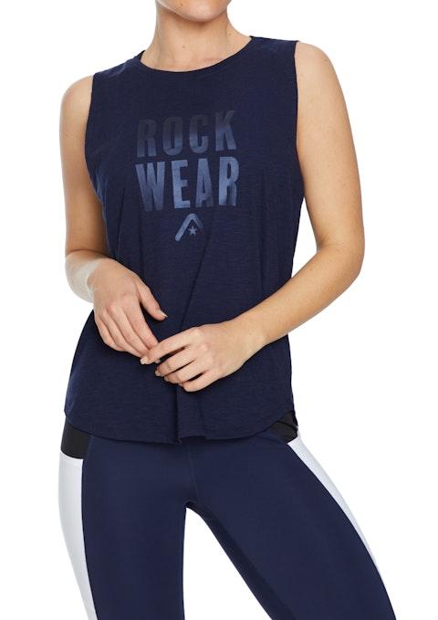 French Navy Rise Rockwear Logo Print Tank