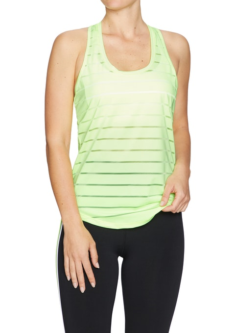 Lime Conquer Twist Back Active Singlet