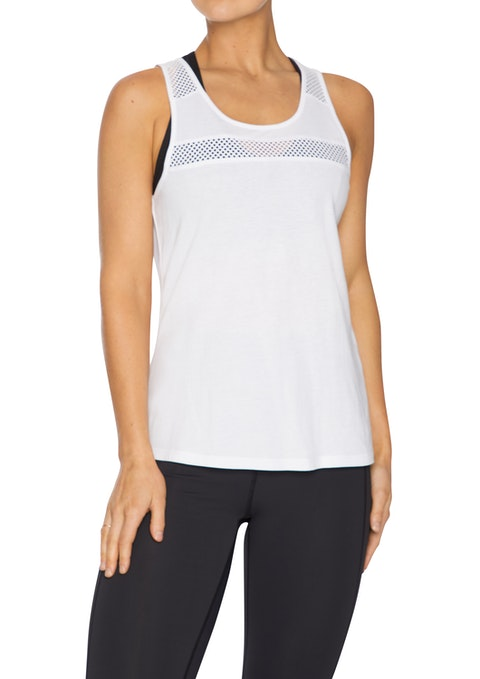 White Excel Mesh Active Singlet