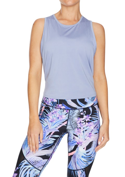 Periwinkle Carousel Tie Back Active Tank