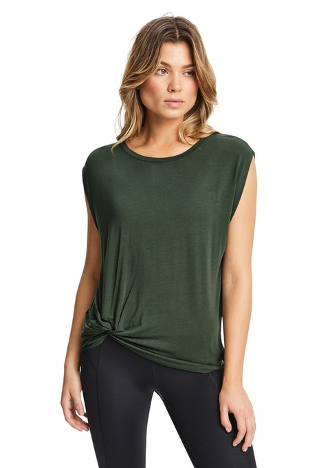 Khaki Connect Twist Side Tee