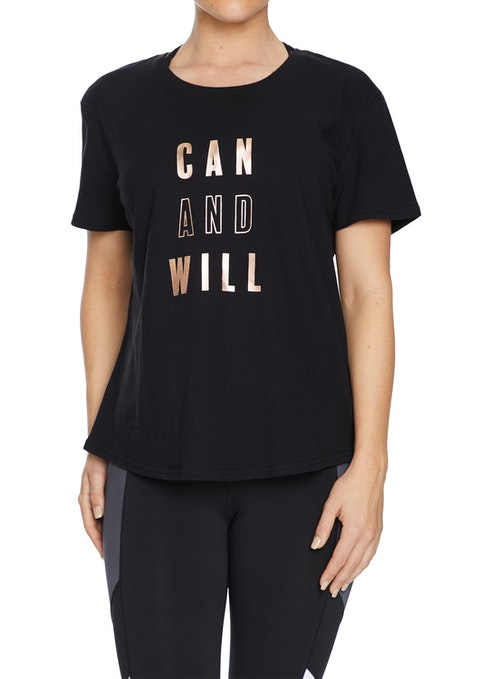Black Rockwear Print Casual Tee