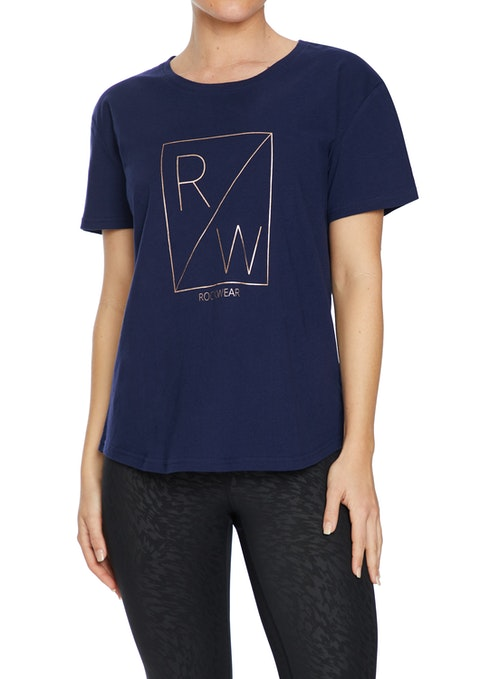 French Navy Rockwear Print Casual Tee