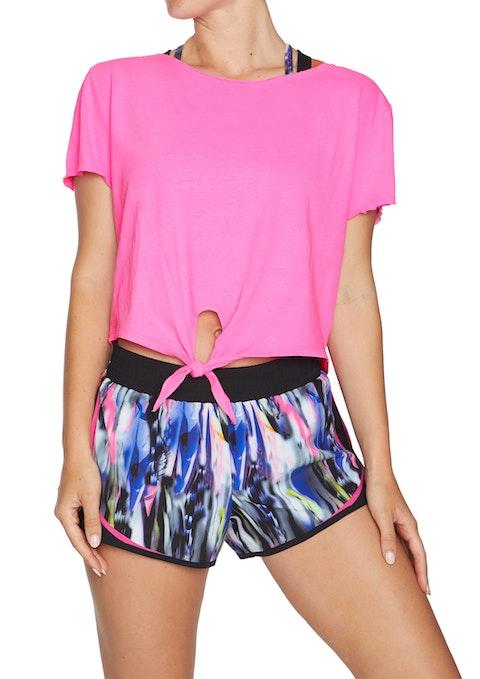 Neon Pink Mash Up Tie Front Casual Tee