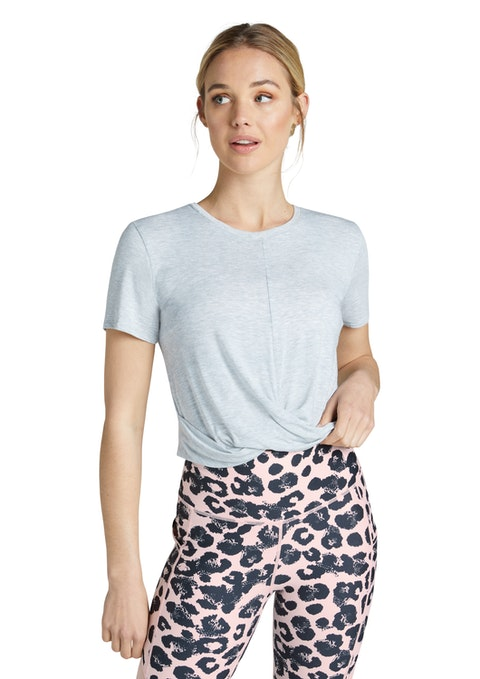 Light Grey Marle Bloom Twist Knot Front Tee
