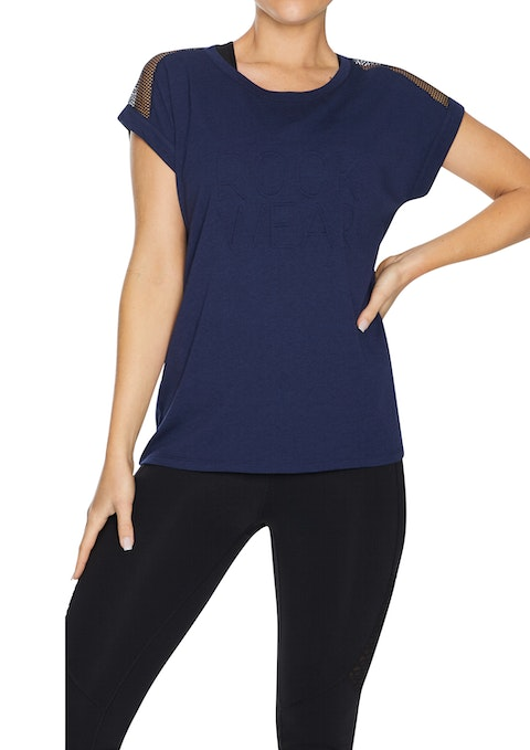 French Navy Logo Front Mesh Tee