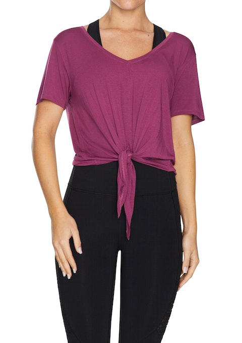 Mulberry Nevada Tie Front V Neck Tee