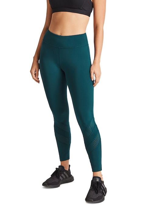 Dark Teal Perforated Ankle Grazer Tights