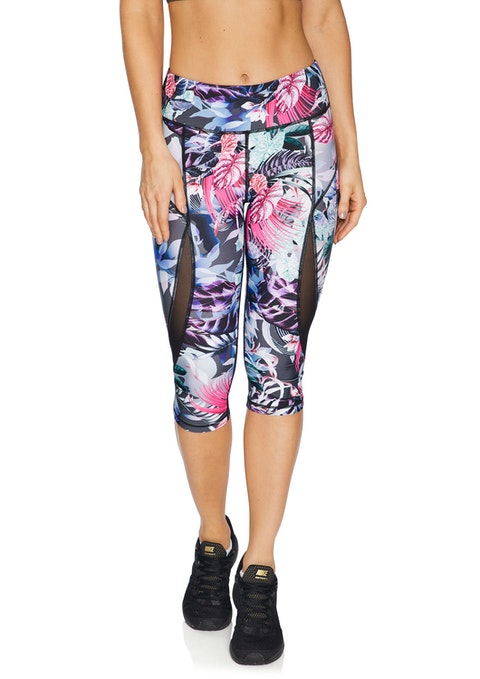 Palm Floral Spliced Mesh Print 3/4 Tight