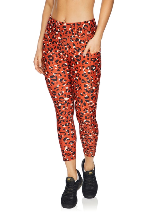 Rust Animal Squad Print Ankle Grazer Tights