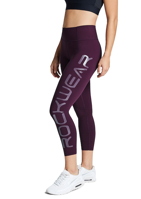 Bordeaux Reflective Logo Ankle Grazer Tights