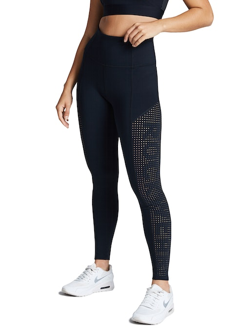 Black Perforated Logo Full Length Tights