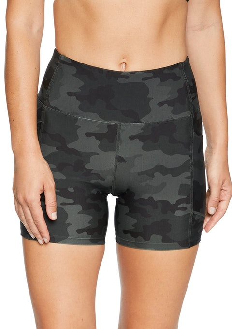 Greens Camo Print Pocket Bike Shorts
