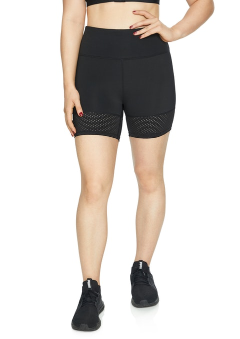 Black Perforated Bike Shorts