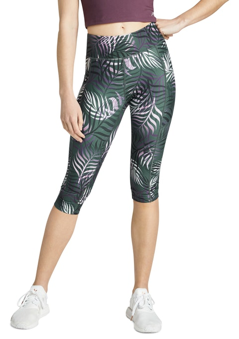 Winter Leaf Sprint Print Pocket 3/4 Tights