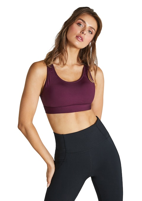Bordeaux Clean Finish High Impact Speed Bonded Sports Bra