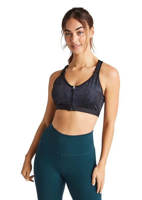 Verry Berry Grey Very Berry Zip Medium Impact Sports Bra