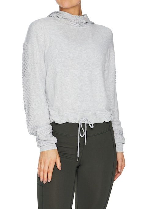 Light Grey Marle Mesh Funnel Neck Cropped Hoodie
