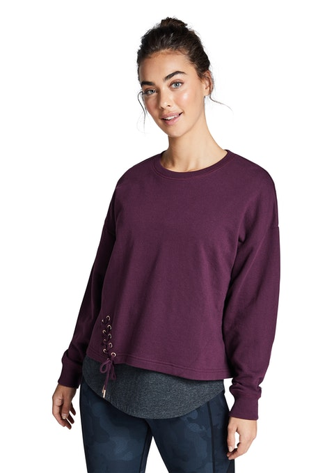 Bordeaux Very Berry Lace Up Crew