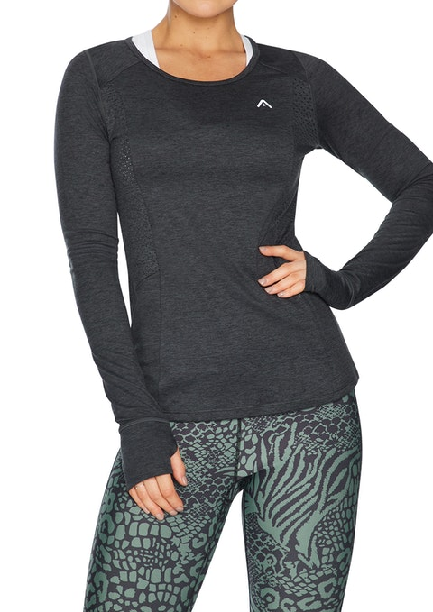 Charcoal Shadow Perforated Long Sleeve Run Top