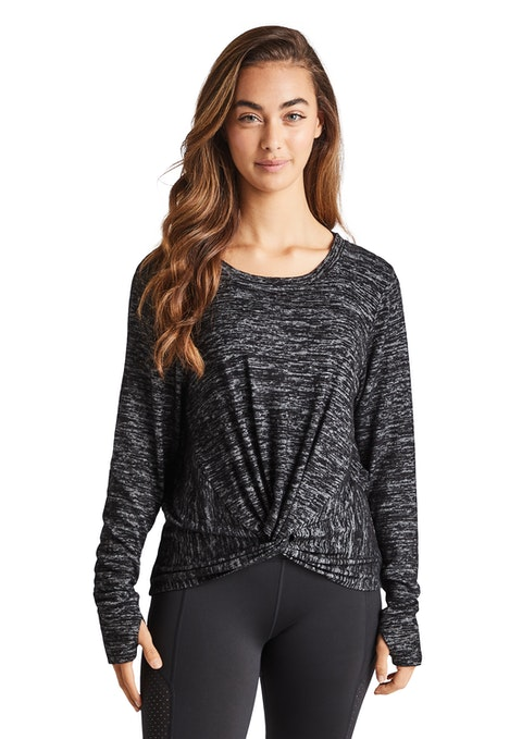 Charcoal Marle Very Berry Tie Detail Mock Knit Top