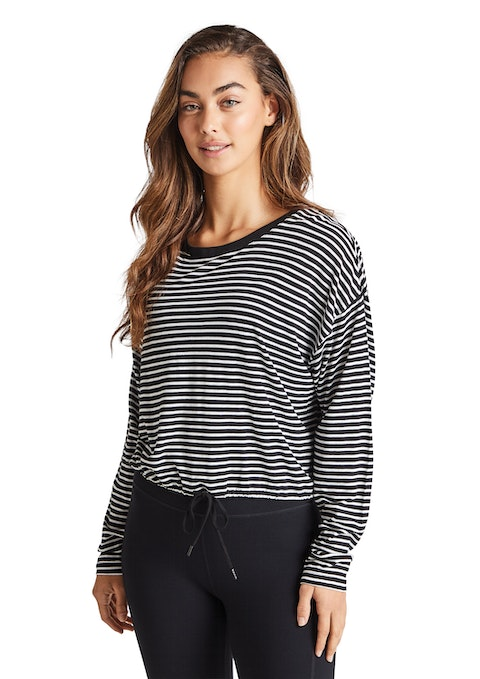 Black And White Midnight Stripe Tie Top