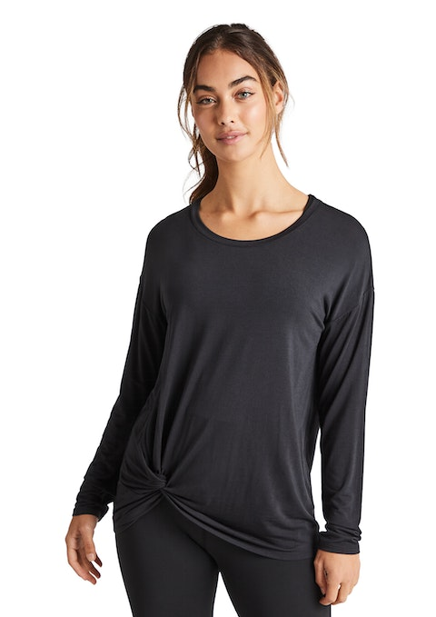 Black Drape Front Top