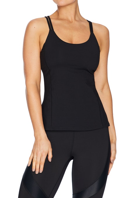 Black Luxesoft Strappy Support Singlet
