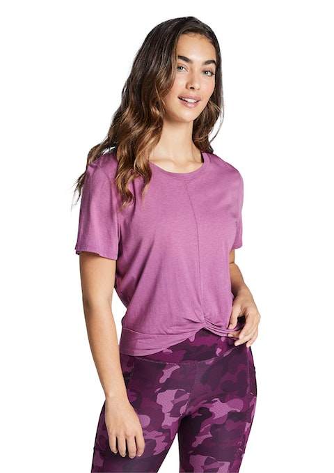 Rose Very Berry Gathered Knot Front Tee