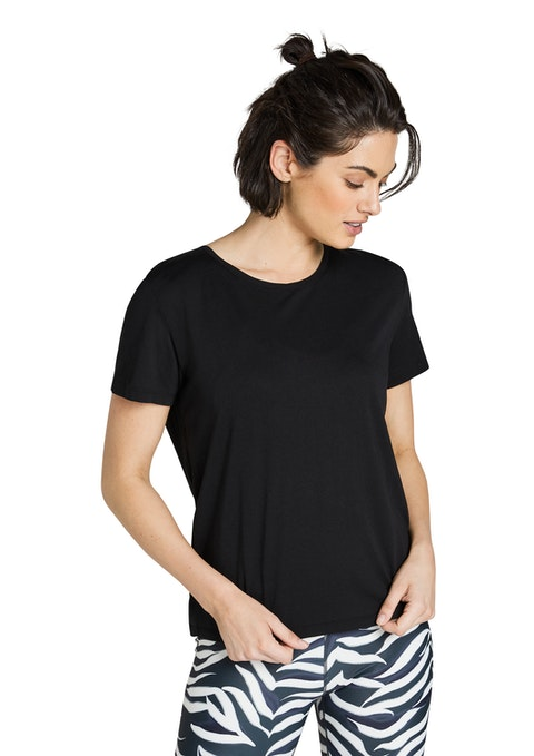 Black Very Berry Back Gather Detail Tee