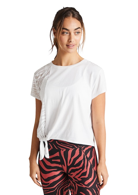 White Serengeti Zebra Burnout Tee