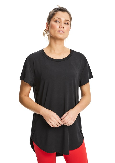 Black Long Line High Low Tee