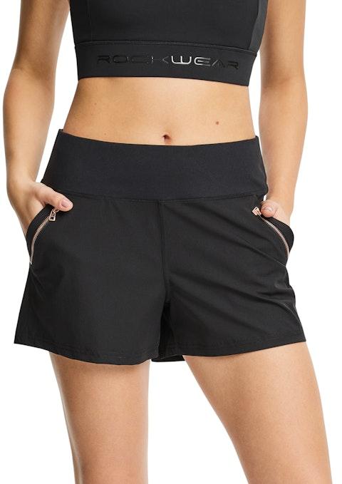 Black Woven Zip Pocket Shorts