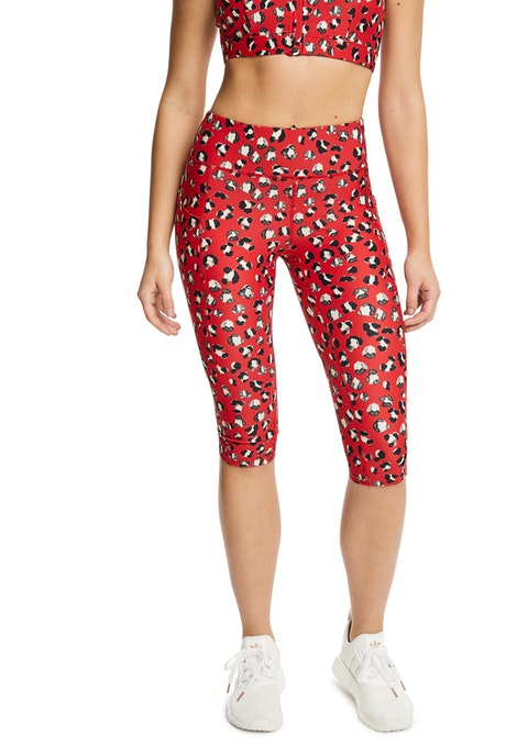 Red Leopard Sprint Printed Pocket 3/4 Tights