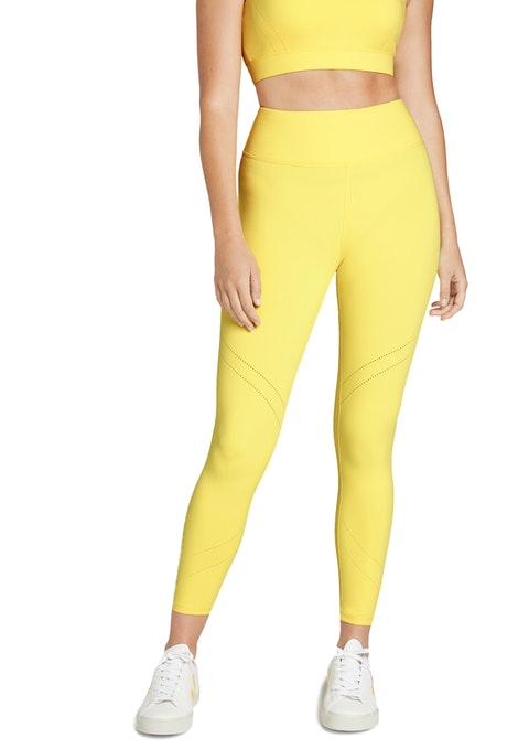 Canary Luau Perforated Hem Ankle Grazer Tights