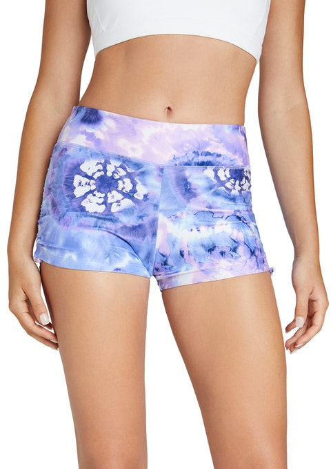 Lilac Tie Dye Printed Ruched Booty Shorts